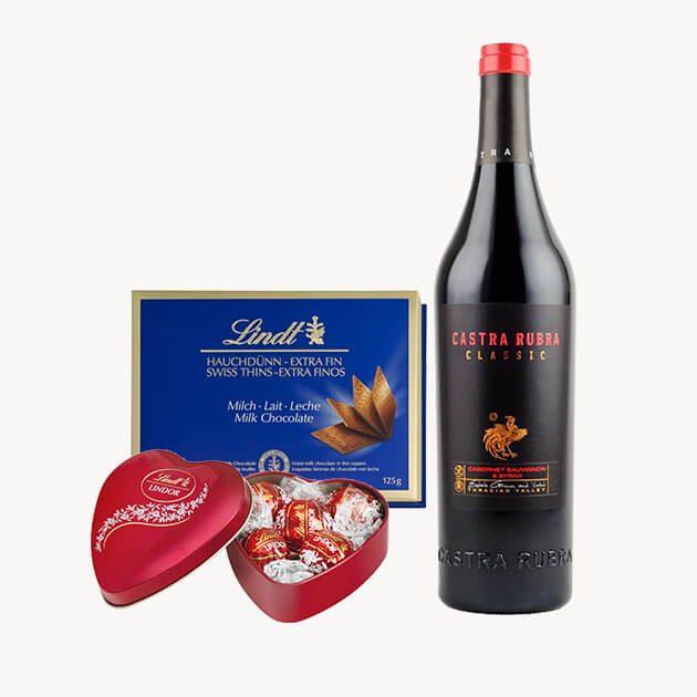 Подаръчен комплект с червено вино, млечен шоколад и сърце
