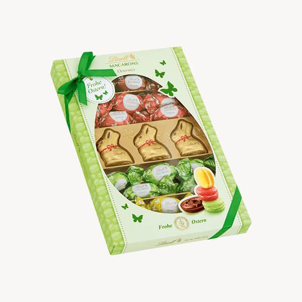 Великденска бонбонира с мини зайчета и яйца Макаронс 230 г
