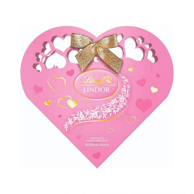 Розово сърце Lindt Lindor бонбони от бял шоколад с ягода 200 g