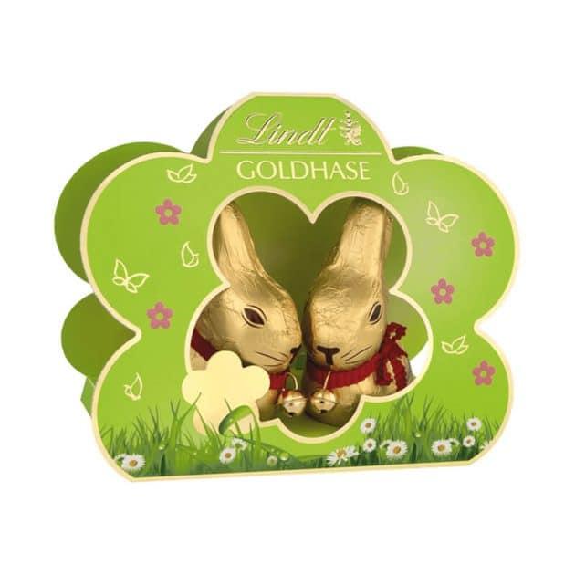 Lindt Двойка златни зелени великденски зайчета 2x50 г